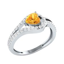 0.81ct Heart & Round Citrine & White Sapphire Solid Gold Engagement Wedding Ring