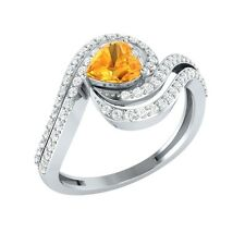 0.87ct Heart & Round Citrine & White Sapphire Solid Gold Engagement Wedding Ring