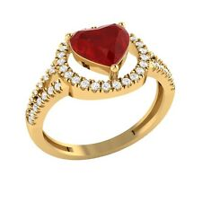 1.77ct Heart & Round Cut Ruby & White Sapphire Solid Gold Halo Engagement Ring