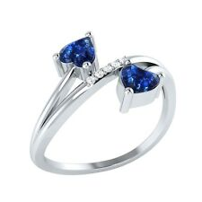 0.53 ct Heart & Round Cut Blue Sapphire & White Sapphire Solid Gold Bypass Ring