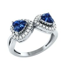 1.20ct Heart & Round Blue & White Sapphire Solid Gold Double Heart Promise Ring