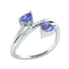 0.53 ct Heart & Round Cut Tanzanite & White Sapphire Solid Gold Bypass Ring