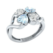 1.13ct Heart & Round Aquamarine & White Sapphire Solid Gold Heart Promise Ring