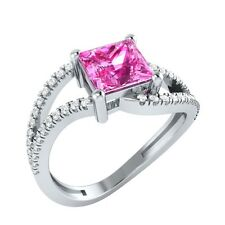 1.33ct Princess Pink Sapphire & Round White Sapphire Solid Gold Engagement Ring
