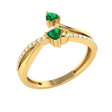 0.34ct Heart & Round Cut Emerald & White Sapphire Solid Gold Heart Promise Ring