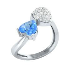 1.04ct Heart & Round Blue Topaz & White Sapphire Solid Gold Heart Promise Ring