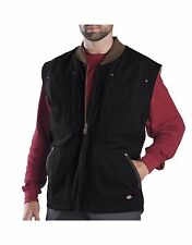 dickies mens heavyweight insulated sherpa lined work te445 vest black brown m-3x