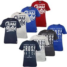New Mens Branded Crosshatch Printed Crew Neck Cotton T-shirt Top