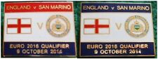England v San Marino Euro 2016 Qualifier Wembley 9 October 2014 Pin Badge