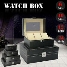 Leather Watch Stand Box Jewellery Collection Display Storage Case Clear Top Lid