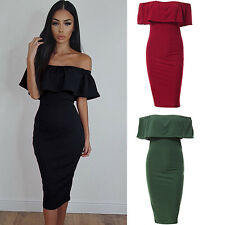 WOMEN OFF SHOULDER RUFFLED COLLAR BODYCON PACKAGE HIP PARTY CLUB DRESS DAINTY