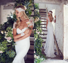 Vintage Backless Lace Wedding Gowns 2017 Sexy Sheath V Neck Bridal Gown Size 20+