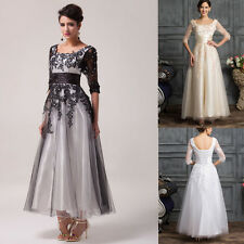 Formal Lace Bridesmaid Cocktail Vintage Dress Long Evening Party Prom Ball Gown