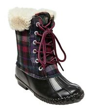 Stevies by Steve Madden Girls Blk Plaid Midcalf Fur Lined Duck Rain Boots - NWT