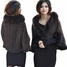 100% Real Knitted MINK Fur Coat Jacket With Fox fur collar cape Poncho sleeves