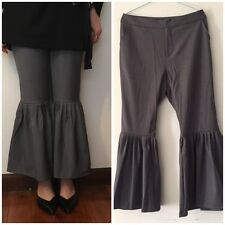 Tailor-Made Ruffle Cuff Cropped Wide Leg Grey or Black Pants