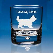 Yorkshire Terrier Dog Lover Gift Engraved Whisky Glass: Can Be Personalised