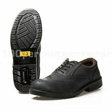 VA Mens Black Brogue Leather Work Safety Shoes Steel Toe Cap Mid Sole S1P SRC