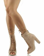 Wild Diva Lounge Open Toe Corset Lace Up Tie Chunky Heel Ankle Bootie Size 8