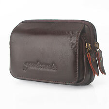 Men Genuine Leather Cell Mobile Phone Belt Pouch Purse Fanny Pack Waist Bag New