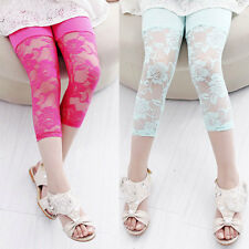 Kids Girl Lace Floral Cotton Trousers Casual Cropped Leggings Pants 3/4 Capris
