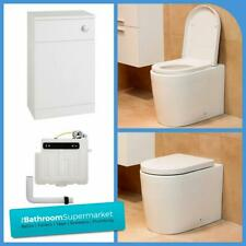 Round Back to Wall BTW WC Pan Concealed Cistern Toilet Seat & WC Units