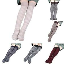 Women Step Foot Knit Mixed Color Woolen Yarn Over Knee Stocking High Sock Warmer