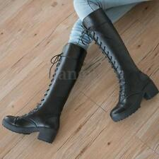 AU Womens Lace Up Platform Over Knee Thigh High Boots Martin Shoes Riding Boots
