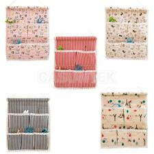 Cotton Linen 5 Pockets Home Organizer Container Wall Door Hanging Storage Bag