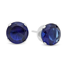 Round Cut Simulated Sapphire Blue CZ Sterling Silver Stud Earrings