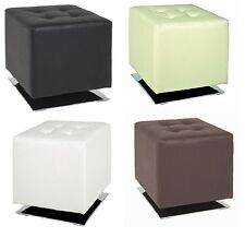 Faux Leather & Chrome Footstool Pouffe Seat Footrest Side End Table