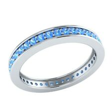 0.60 ct Round Cut Blue Topaz Solid Gold Full Eternity Wedding Band Ring Size 7