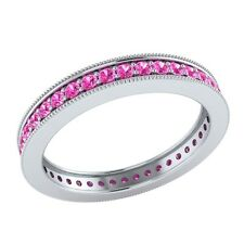 0.60 ct Round Pink Sapphire Solid Gold Wedding Full Eternity Band Ring Size 7