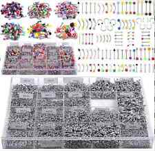 Lot Of 105 Mix Color Stainless Acrylic Ball Barbell Bar Navel Belly Button Ring