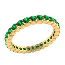 0.98 ct Round Green Emerald Solid Gold Full Eternity Wedding Band Ring Size O