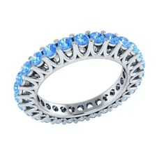 1.40 ct Round Cut Blue Topaz Solid Gold Full Eternity Wedding Band Ring Size O