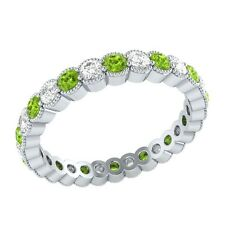 0.98 ct Peridot & Sapphire Solid Gold Wedding Full Eternity Band Ring Size O