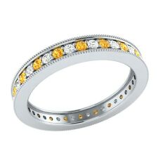 0.60 ct Citrine & Sapphire Solid Gold Wedding Full Eternity Band Ring Size O