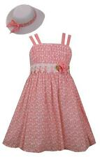 Bonnie Jean Girls Pink Sun Dress and Hat Set Floral Spring Easter 2 Pc Set New