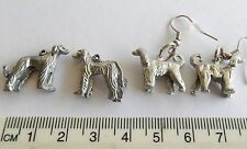 Afghan Hound, Dog breed, dogs long coats, graceful detailed charms hook earrings
