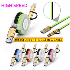 Retractable 2in1 Type-C&Micro USB Fast Sync Data Charger Cable For Cellphone Lot