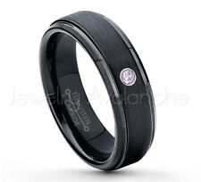 0.07ct Amethyst Solitaire Ring, February Birthstone, Black IP Tungsten Ring #085