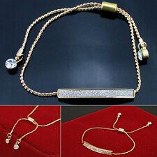 Sexy Gold Crystal Pave Bar Slider Bracelet Adjustable Drawstring Tightening Gift