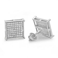 Rhodium Plated .925 Sterling Silver Micropave CZ Square Earrings
