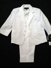 Vangogh boys white long sleeve 5 piece bow tie christening tuxedo set 12m-18m