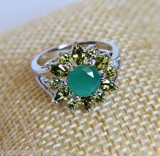 Gorgeous Bling Ring Silver Band with Emerald & Peridot Gemstone Flower Sz 6 7 8