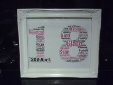 LUXURY 18th word art picture with frame mount diamontes