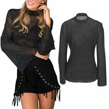 Womens Sexy See Through Tops Ruffled Long Sleeve Casual T-shirts Blouse Tops SML