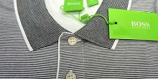 NWT $125 Hugo Boss Modern Fit White Stripe Polo Shirt C-Janis Men M Short Sleeve