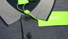 NWT $125 Hugo Boss Modern Fit Navy Stripe Polo Shirt C-Janis Mens M Blue SS NEW